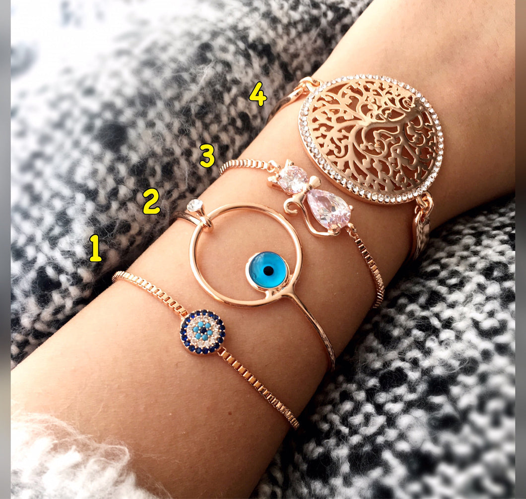 Rose Gold Evil Eye Bracelet, Tree of Life Bracelet - Evileyefavor
