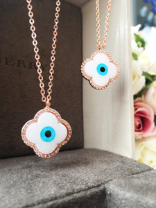 Evil eye necklace, mother of pearl necklace, rose gold plated necklace - Evileyefavor
