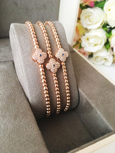 Lucky Clover Bracelet, Adjustable Rose Gold Bracelet - Evileyefavor