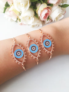 Adjustable Evil Eye Bracelet, Rose Gold Eye-shaped Bracelet - Evileyefavor