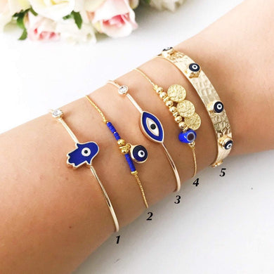 Gold Evil Eye Bracelet, Blue Evil Eye Bead, Bangle Bracelet - Evileyefavor