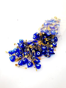 10 pcs glass evil eye beads - tiny evil eye safety pins - nazar boncuk - Evileyefavor