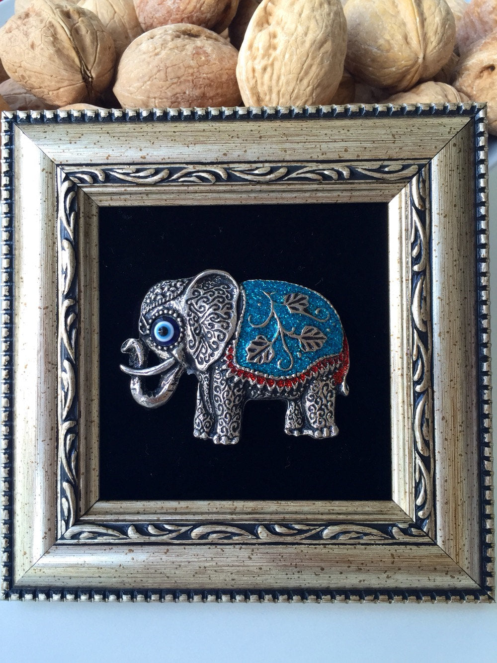 ... Framed Wall Décor   Elephant Wall Art   Evil Eye Wall Hanging   Evil  Eye Bead