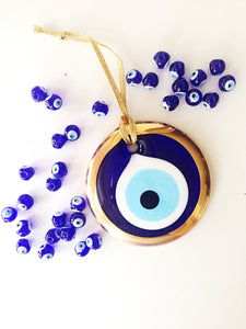 gold evil eye bead - 7cm - evil eye wall hanging - gold evil eye charm - large evil eye - turkish evil eye - nazar boncuk - evil eye decor - Evileyefavor