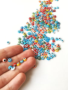 6mm flat round evil beads- Turkish evil eye- strand for red, yellow, green, blue - Evileyefavor