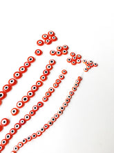 Orange evil eye beads - Flat glass bead - 6mm to 12mm - Nazar evil eye tiny beads - Ojo beads - Evil eye wholesale beads - beads for jewelry - Evileyefavor