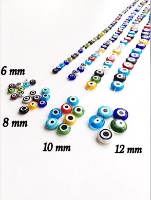 Mixed color evil eye 6mm to 12mm - flat glass beads - evil eye set of 30 to 55 beads - Flat evil eye - Greek evil eye - diy jewelry supplies - Evileyefavor