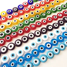 12mm flat round evil beads- Turkish evil eye- strand for red, yellow, green, blue, white - Evileyefavor