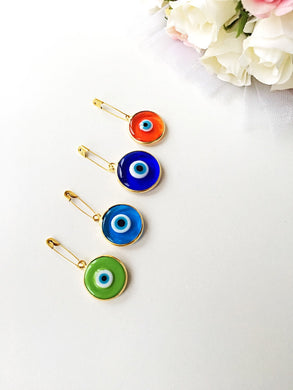 28mm Lucky evil eye safety pin, protection for baby, gold plated evil eye pins - Evileyefavor