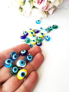 5 pcs glass evil eye charms, translucent opaque evil eye pendants - Evileyefavor