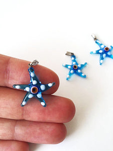 Murano glass evil eye starfish pendant - lampwork evil eye bead - blue evil eye nazar pendant - turkish greek evil eye - jewelry supplies - Evileyefavor