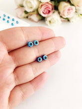 Glass Evil Eye Greek Stud Earrings - Evileyefavor