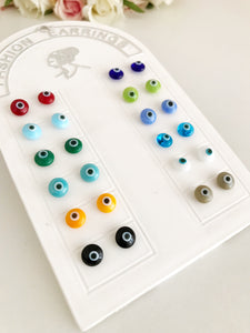 Glass Evil Eye Stud Earrings - Evileyefavor