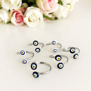 Adjustable Silver Evil Eye Ring - Evileyefavor
