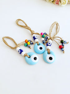 Lucky Evil Eye Bead, Evil Eye Car Rear Mirror Charm, White Evil Eye
