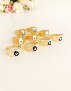 Adjustable Gold Evil Eye Ring - Evileyefavor