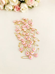 Pink evil eye safety pin BULK - Evileyefavor