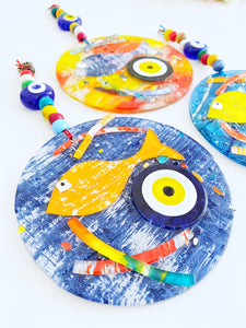 Evil eye wall hanging, fused glass wall decor, fish evil eye