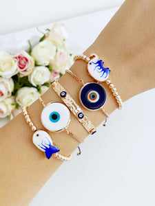 Evil Eye Bracelet, Bangle Bracelet, Lucky Jewelry