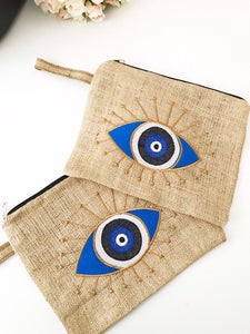Evil eye bag, jute bag, evil eye clutch bag,