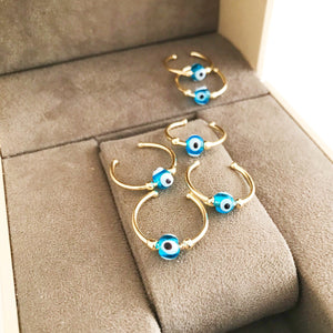 Minimalist Gold Evil Eye Ring - Evileyefavor