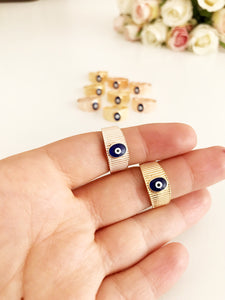 Adjustable blue evil eye dainty ring - Evileyefavor