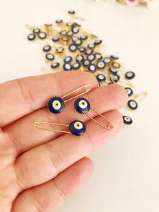 Blue Evil Eye Safety Pin - Evileyefavor