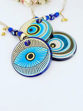 Patterned Evil Eye Wall Hanging, Painted Evil Eye Home Decor, Small Evil Eye
