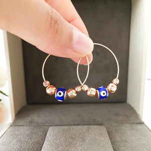 Blue Evil Eye Hoop Earrings - Evileyefavor