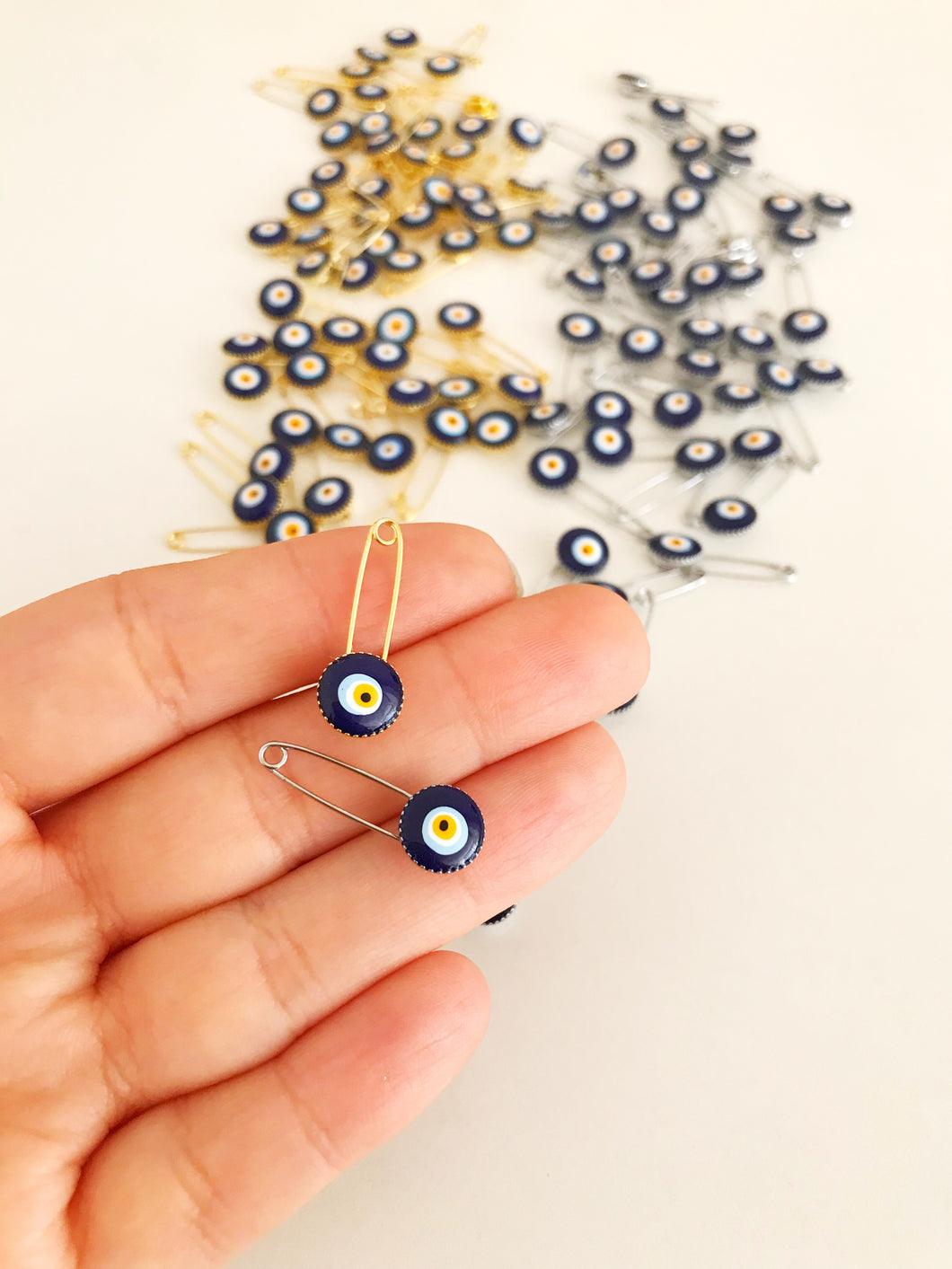 100 pcs Blue Evil Eye Safety Pin - Evileyefavor