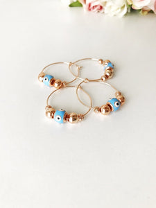Evil Eye Turquoise Hoop Earrings - Evileyefavor