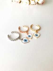 Heart Evil Eye Dangle Ring - Evileyefavor