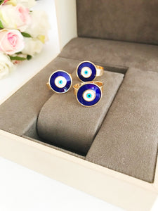 Adjustable blue evil eye ring - Evileyefavor