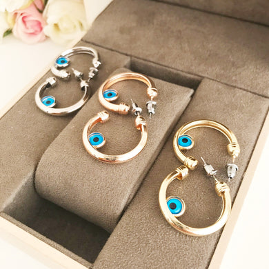 Evil Eye Hoop Earrings - Evileyefavor