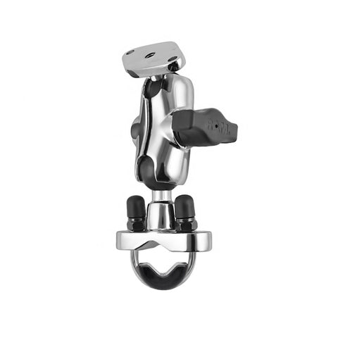 RAM Chrome Rail Mount with Short Double Socket Arm & Stainless Steel U-Bolt Base (RAM-B-149CH-LO4) - Mounts AU - RAM Mounts Australia