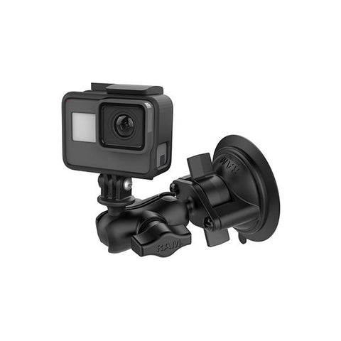 RAM® Twist-Lock™ Suction Cup Mount with Universal Action Camera Adapter (RAM-B-166-A-GOP1U)