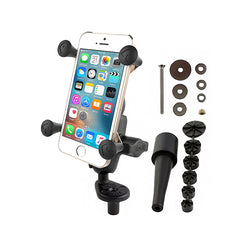 RAM Fork Stem Mount with Double Socket Arm & Universal RAM X-Grip Phone Cradle (RAM-B-176-A-UN7U) - RAM Mount Australia