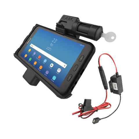 RAM® Samsung Galaxy Tab Active2 Vehicle Cradle with Keyed Lock & Charger (RAM-HOL-SAM7PKL-HARU)