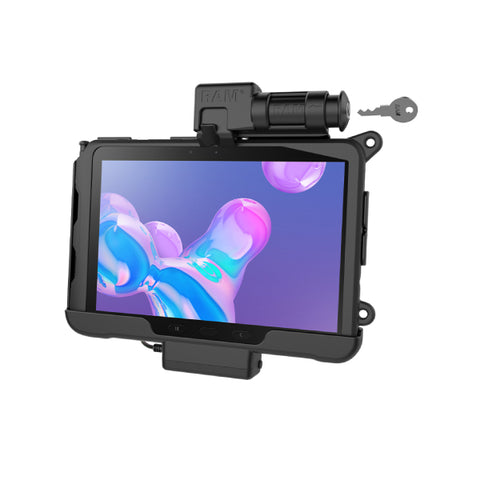 RAM-HOL-SAM57PKLU RAM Skin Key-Locking Powered Cradle for Samsung Tab Active Pro-Image-1