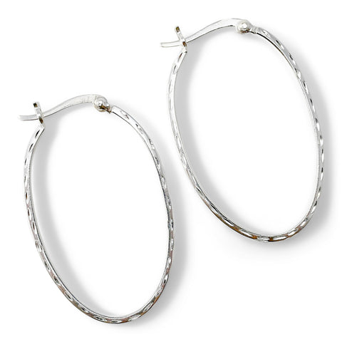 Sterling Hammered Oval Hoop Earrings