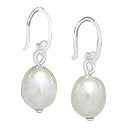 Oval Freshwater Pearl drop earrings