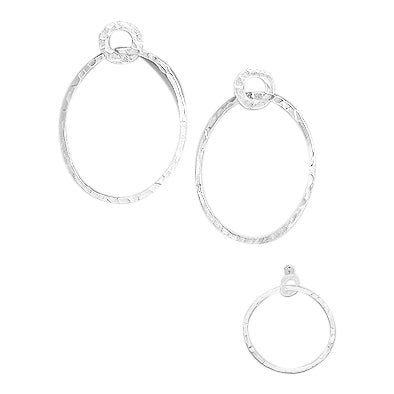 Sterling Hammered Double Circle Post Earrings