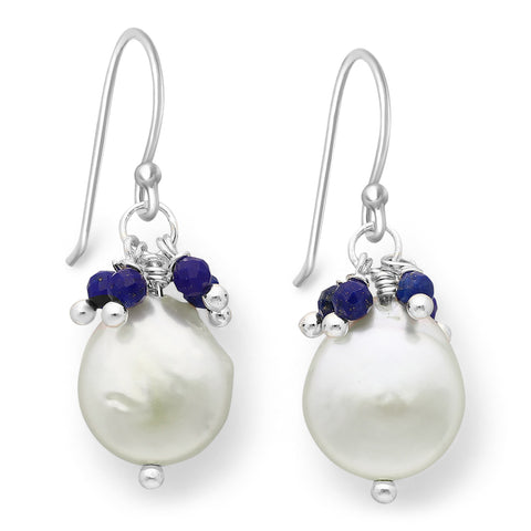 Freshwater Coin Pearl with Lapis Beads Wire Earrings