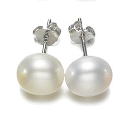 8MM White Freshwater Pearl and Sterling Silver Studs