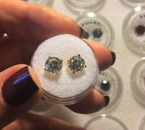 Clear CZ studs in sterling or gold vermeil