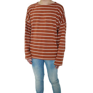 Striped / Over - Rusty Orange Long-Sleeved Tee - Chimaek Collective