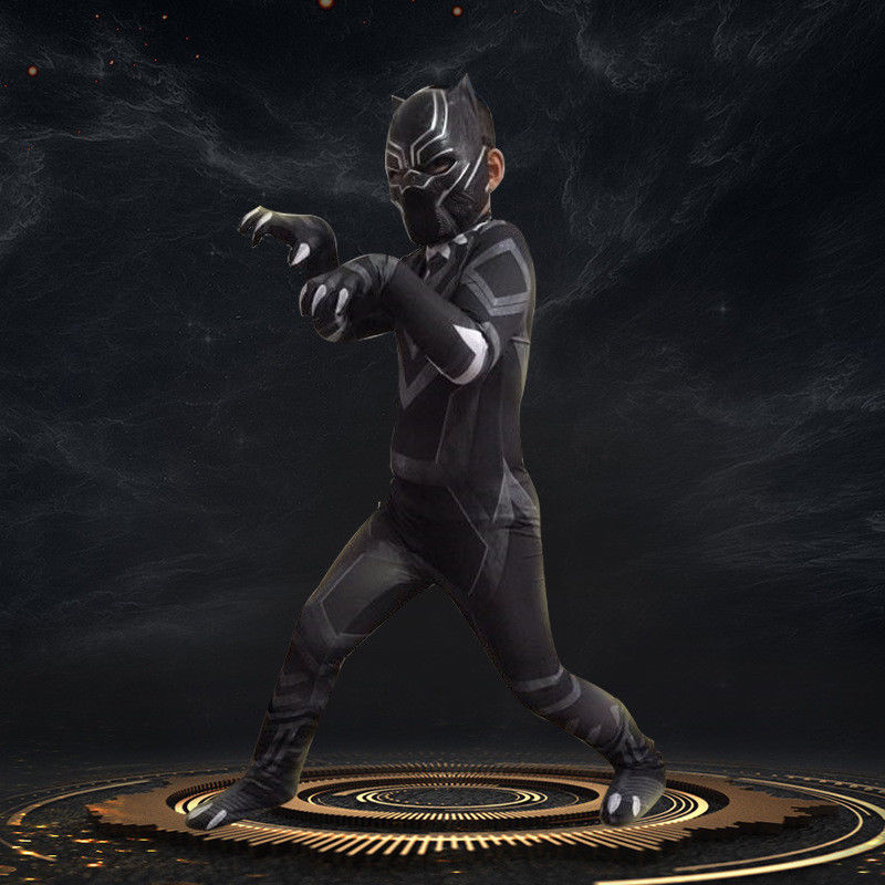 T'Challa Wakanda King Black Panther Cosplay Jumpsuit Outfit Adults Kids Costume
