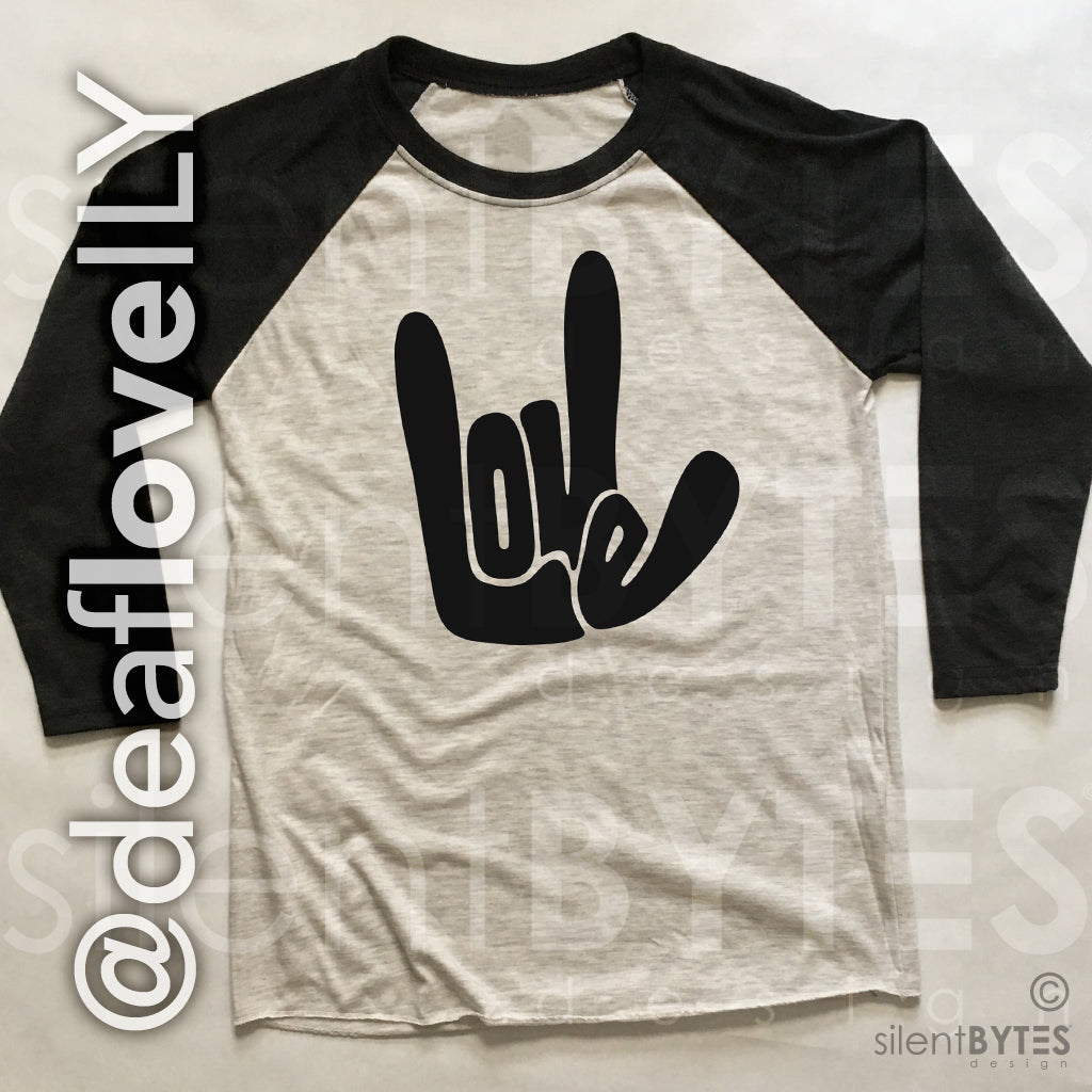 Deaf LOVE / ILY Baseball Shirt - Black