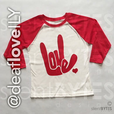 Deaf LOVE / ILY Baseball Shirt - Red (Youth)