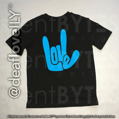 LOVE / ILY T-Shirt - Black / Blue (Youth)